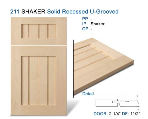 211 SHAKER Solid Recessed U-Grooved