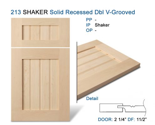 213 SHAKER Solid Recessed Dbl V-Grooved